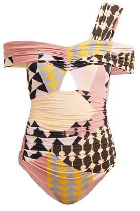 Self-Portrait Self Portrait Geometric Printed One Shoulder Bardot Swimsuit - Womens - Multi