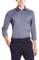 Lacoste Men's City Long Sleeve Stretch Solid Poplin Woven Shirt