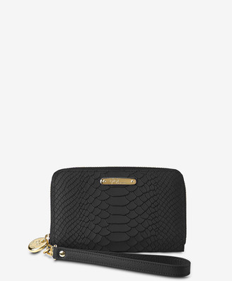 GiGi New York Wristlet Phone Wallet, Black Embossed Python