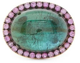 Rosa De La Cruz - Tourmaline, Sapphire & 18kt Gold Ring - Green Multi