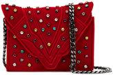 Elena Ghisellini jewel studded crossbody bag - women - Brass/Velvet - One Size