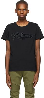 Balmain Black Bi-Color Flocked Logo T-Shirt
