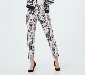 Lisa Rinna Collection Printed Tuxedo Stripe Ankle Pants