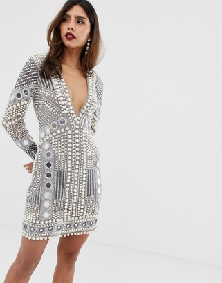 Asos Edition EDITION disc and pearl mini dress-Grey