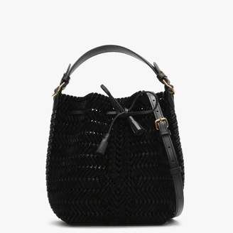 Anya Hindmarch Small Neeson Black Velvet Drawstring Bag