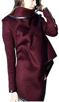 jasmine214 Women's Irregular Drape Long Sleeve Trench Coat Woolen Overcoat