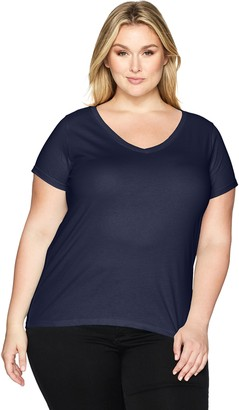Clementine Apparel Women's Ladies Curvy Plus V-Neck T-Shirt
