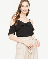 Ann Taylor Tall Cold Shoulder Ruffle V-Neck Top