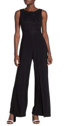Marina Glitter Knit Sleeveless Wide Leg Jumpsuit