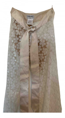 Chanel White Polyester Trousers
