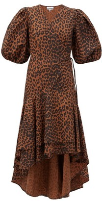 Ganni Puff-sleeve Leopard-print Cotton Wrap Dress - Leopard
