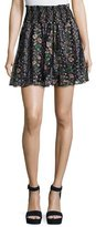 Needle & Thread Floral Stripe Smocked-Waist Skirt, Black