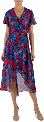 Julia Jordan Ruffle V-Neck Wrap Dress