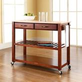 Crosley 42 in. Natural Wood Top Kitchen Island Cart with Optional Stool Storage in Cherry