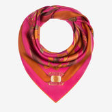 Bally Belt Print Carré Pink, Women's silk scarf in multi-fuchsia