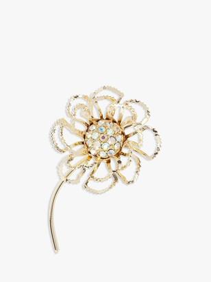 Susan Caplan Vintage Sarah Coventry Gold Plated Swarovski Crystal Flower Brooch, Gold