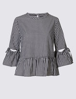 Marks and Spencer Pure Cotton Gingham Flared Sleeve Blouse