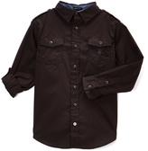 English Laundry Black Pocket Roll-Sleeve Button-Up - Boys