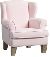 Pottery Barn Kids Wingback Mini Chair, Linen Blend Pale Pink