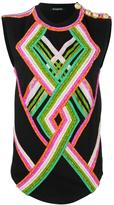 Balmain glass pattern tank top - women - Cotton/glass - 36