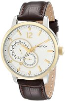 Nautica Unisex N16648G NCT 15 Gold-Tone Stainless Steel Watch with Brown Leather Band