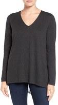 NYDJ Petite Women's Layered Look Cutaway Back Sweater
