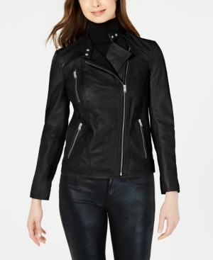 Andrew Marc Asymmetrical Leather Moto Jacket