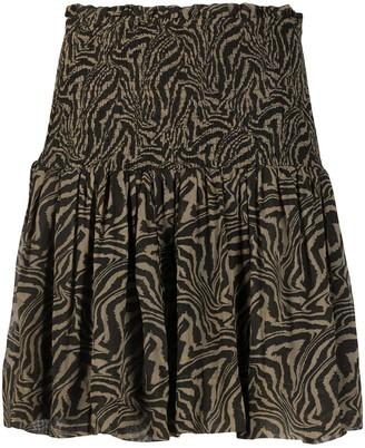Ganni Tiger Print Shirred Skirt