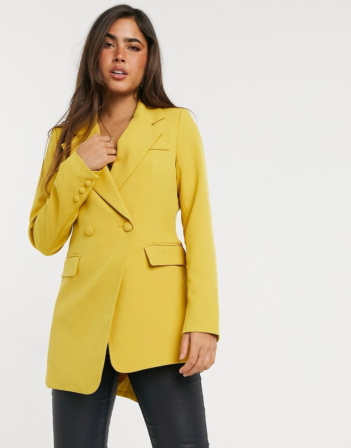 Thumbnail for your product : Forever U asymetric blazer co ord in mustard