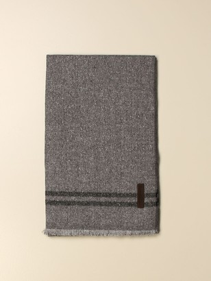Ermenegildo Zegna Scarf In Wool And Chevron Silk