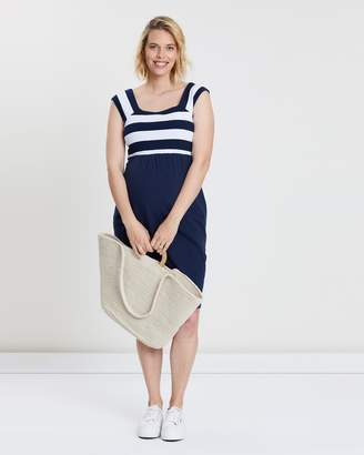 Angel Maternity Maternity Fitted Stripe Cotton Dress