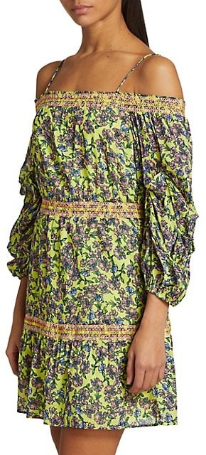Thumbnail for your product : Alice + Olivia Dorothy Smocked Floral Off-The-Shoulder Dress