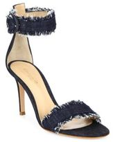 Gianvito Rossi Frayed Denim Ankle-Strap Sandals