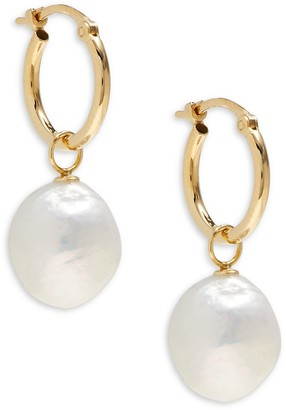 Saks Fifth Avenue 10MM White Baroque Pearl 14K Yellow Gold Earrings