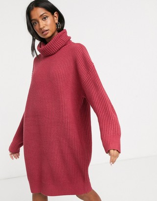 M Lounge Micha Lounge heavy rib rollneck knitted dress with balloon sleeve