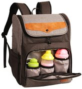 Hap Tim HapTim Diaper Bag Backpack Large Capacity/Wide Open Easy Organize/Comfortable/Fashion Cool Gift for Newborn Mother Father(Gray+Brown-5309)