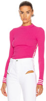Off-White Off White Knit Industrial Long Sleeve Top in Fuchsia | FWRD