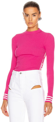 Off-White Knit Industrial Long Sleeve Top in Fuchsia | FWRD