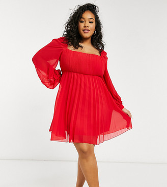 ASOS DESIGN Curve square neck pleated mini skater dress in red