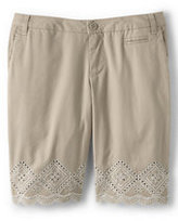 Lands' End Girls Eyelet Bermuda Short-Soft Silver Shimmer