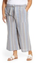 Seven7 Stripe Tie Waist Wide Leg Crop Cotton Pants