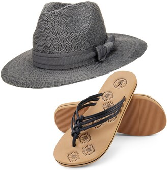 Aerusi Coco Keys Year Round Floppy Straw Sun Hat and Foam Flip Flop Sandals Bundle Set