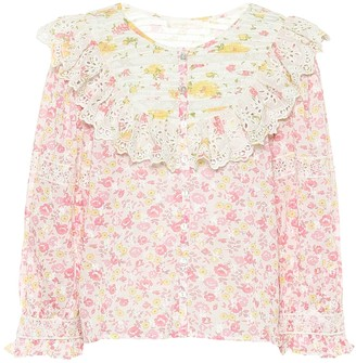LoveShackFancy Canna floral cotton blouse