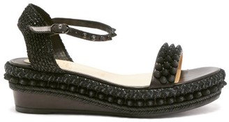 Christian Louboutin Lata Studded Flatform Leather Sandals - Black