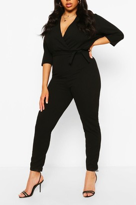 boohoo Plus Wrap Belted Tailored Jumpsuit