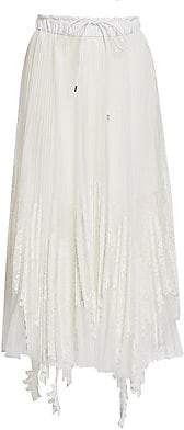 Sacai Women's Pleated Lace & Tulle Skirt