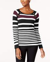 Karen Scott Petite Striped Button-Shoulder Sweater, Created for Macy's