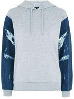Topshop Denim sleeve hoodie