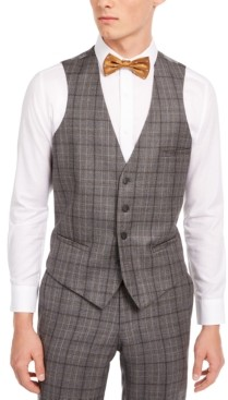 Bar III Men's Slim-Fit Gray/Brown Plaid Suit Separate Vest, Created for Macy's