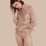 Burberry Tonal Check Ruffle Detail Silk Crepon Top